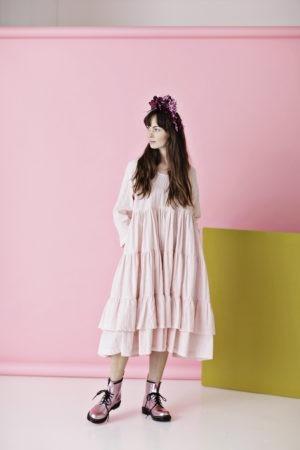 Rose ruffle dress in striped cotton