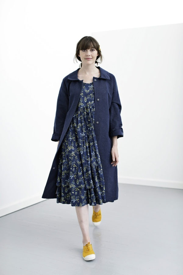 Blue cotton coat with belt