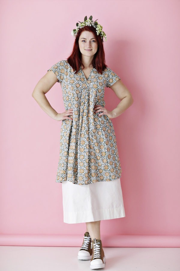Dress with green/yellow print from Zen Ethic