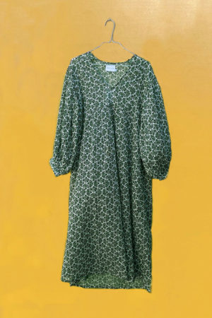 Green midi dress with handmade print from Zen Ethic